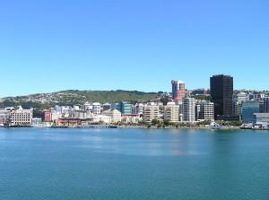 Uitzicht op Wellington vanaf Cook Strait