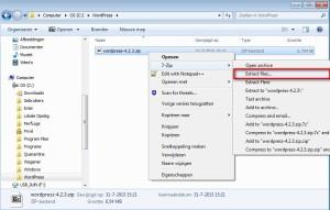 Uitpakken zipfile WordPress installatiebestand